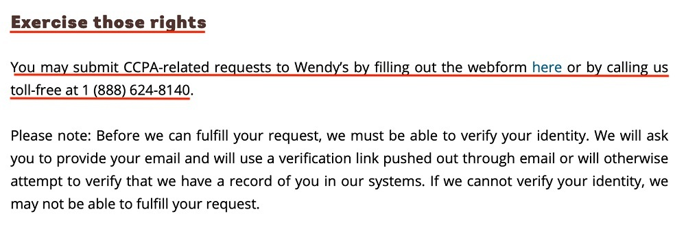 Wendys Privacy Policy: Exercise rights clause
