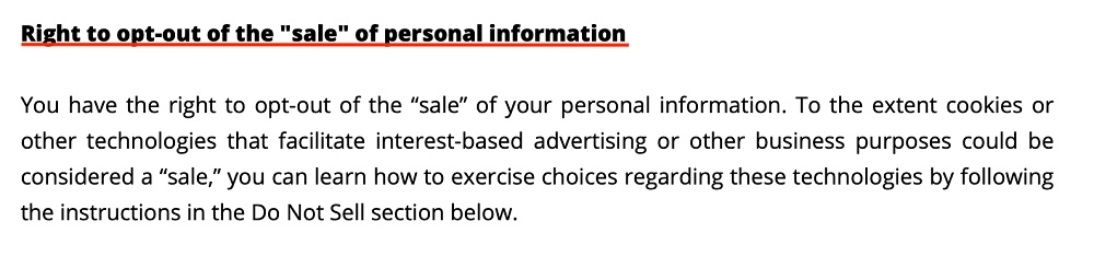 Wendys Privacy Policy: Right to opt-out of the sale of personal information clause