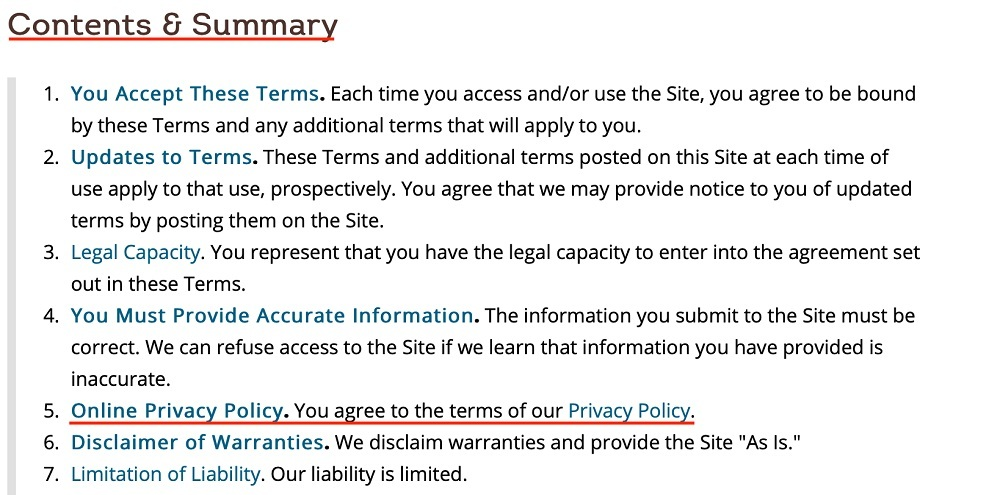 Wendys Terms and Conditions: Contents and Summary clause with Privacy Policy link highlighted
