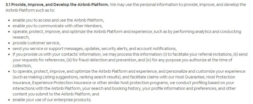 Airbnb Datenschutzrichtlinie: Klausel zur Datenverwendung - Abschnitt Verbesserungs- und Entwicklungsplattform