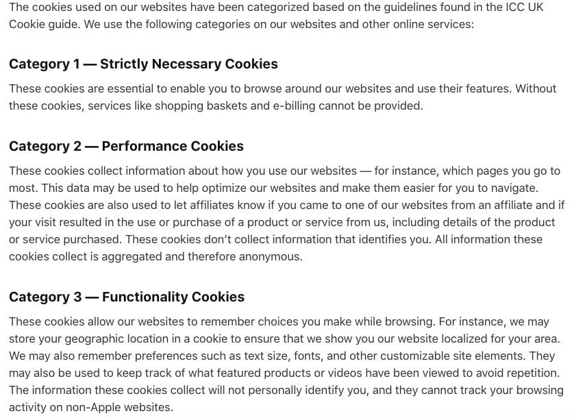 Confidentialité Apple : Utilisation de Cookies - Catégories