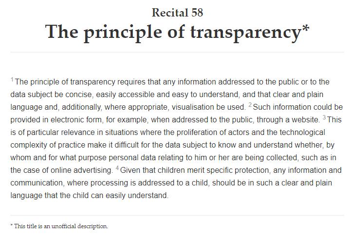 AVG info: Volledige tekst van overweging 58: Het transparantiebeginsel
