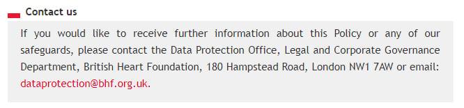 British Heart Foundation Datenschutz- und Cookie-Richtlinie: Kontaktieren Sie uns-Klausel mit DSB-Angaben