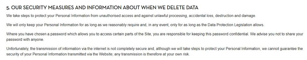 Politique de Confidentialité Caffe Nero : Clause Nos mesures de sécurité et informations sur les situations où nous supprimons des données
