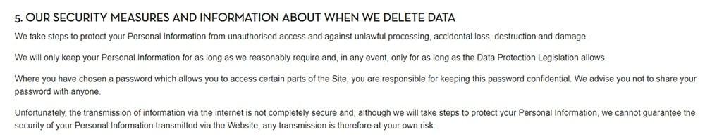 Caffe Nero Datenschutzrichtlinie: Klausel zu unseren Schutzmaßnahmen und Informationen darüber, wan wir Daten löschen