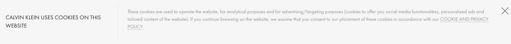 Calvin Klein: Cookies-Hinweisbanner in der Kopfzeile der Website als Beispiel für passive Nutzereinwilligung