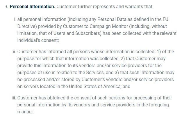 Campaign Monitor Nutzungsbedingungen: Klausel zu personenbezogenen Daten