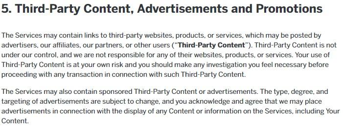 Condizioni d'uso di Reddit: estratto della clausola Contenuti di terze parti