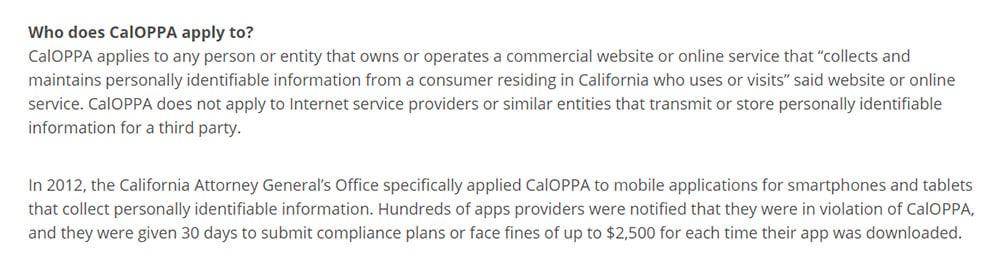 Consumer Federation of California Education Foundation: Für wen gilt das CalOPPA?