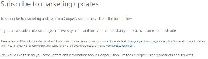Cooper Vision Disclaimer zum Anmeldeformular für Marketing-Updates