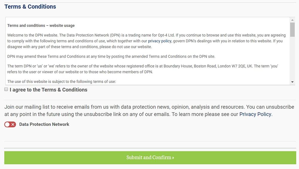 Het Data Protection Network: Registratieformulier met instemming met algemene voorwaarden en vermelding op de verzendlijst via clickwrap