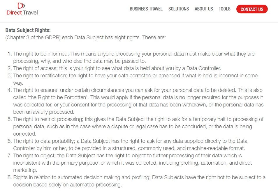 Direct Travel Datenschutzrichtlinie: Klausel Rechte Betroffener: DSGVO
