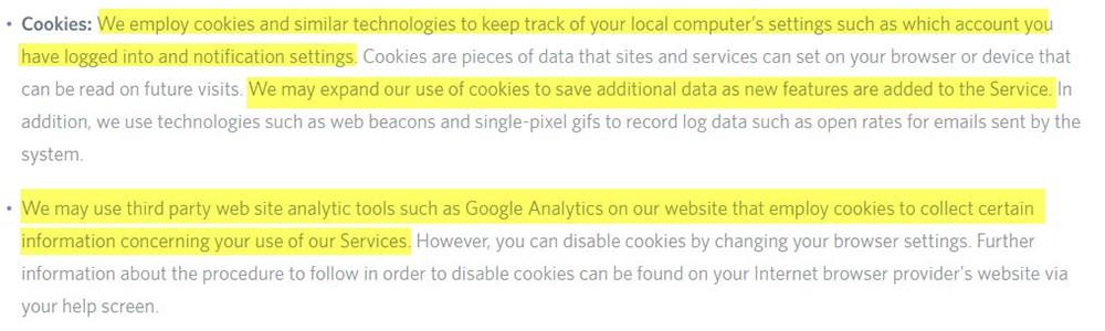 Política de Privacidad de Discord: Cláusula de cookies