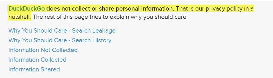 Política de Privacidad de DuckDuckGo: Cláusula de introducción con lista de enlaces
