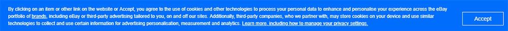 Aviso en forma de banner de consentimiento de eBay UK