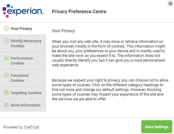 Experian Privacy Preference Centre Einstellungsbildschirm