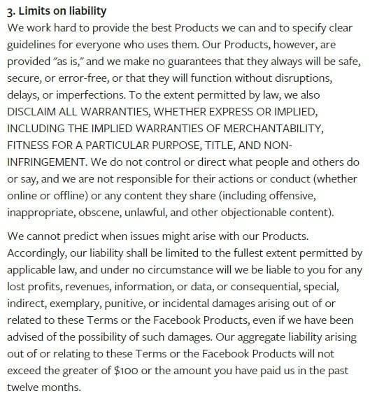 Condiciones de servicio de Facebook: Límites a la cláusula de responsabilidad