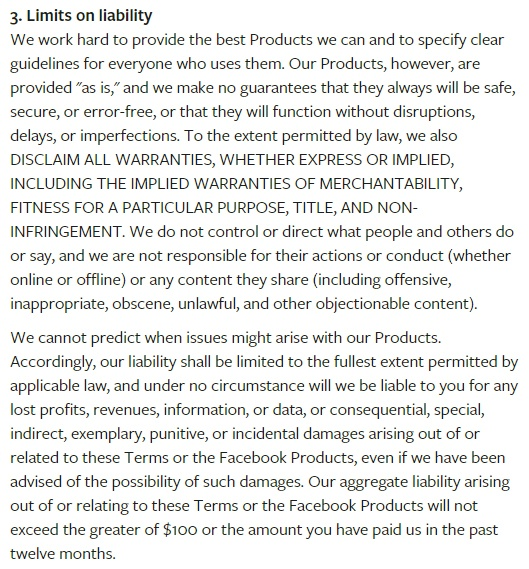 Conditions de Service Facebook : Clause Limites de responsabilité