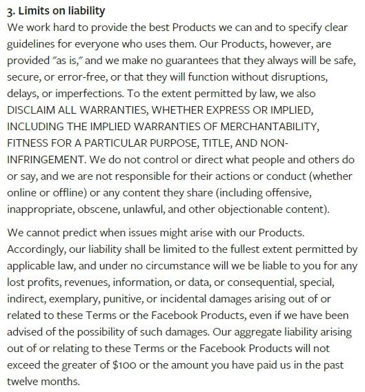 Dienstenvoorwaarden Facebook: Clausule betreffende beperking van aansprakelijkheid