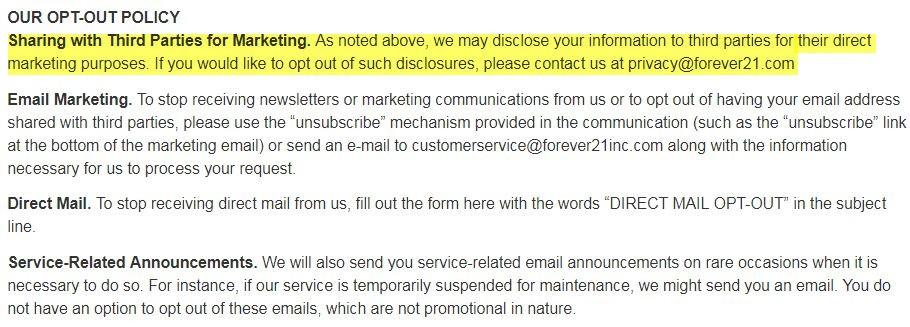 Forever21 Datenschutzrichtlinie: Unsere Abmeldeklausel
