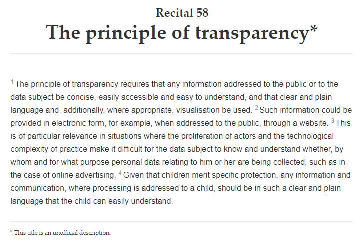 Info sobre el RGPD: Texto completo del Considerando 58: El principio de transparencia
