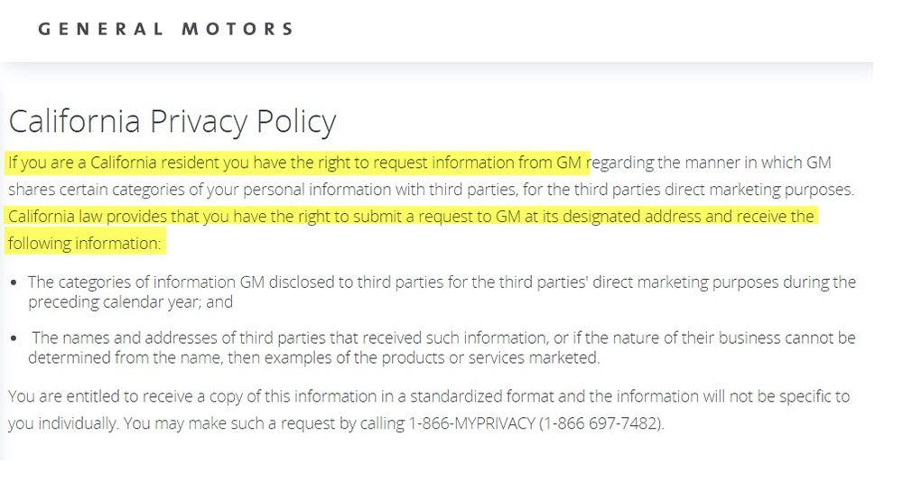 Clausola dell'Informativa sulla privacy per la California di General Motors