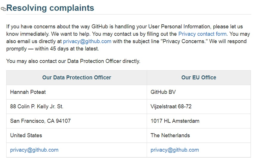 GitHub Datenschutzerklärung: Beschwerdebearbeitungsklausel mit DSB-Kontaktangaben