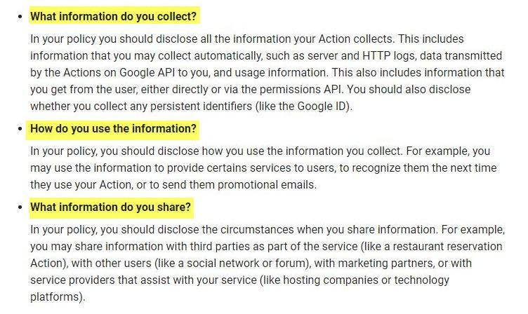 Orientaciones sobre la Política de Privacidad para los desarrolladores de Google: Sección sobre cómo revelar qué información recopila, cómo la utiliza y almacena