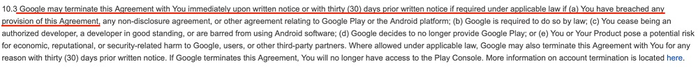 Google Play Developer Distribution Agreement: Section 10 3 - Terminate agreement section