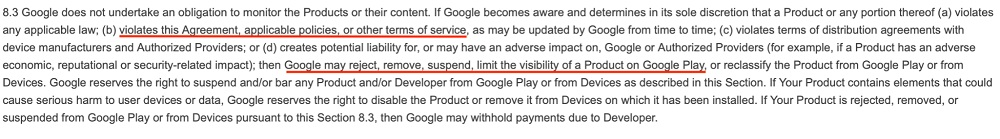 Google Play Developer Distribution Agreement: Section 8 3 - Remove violating apps section