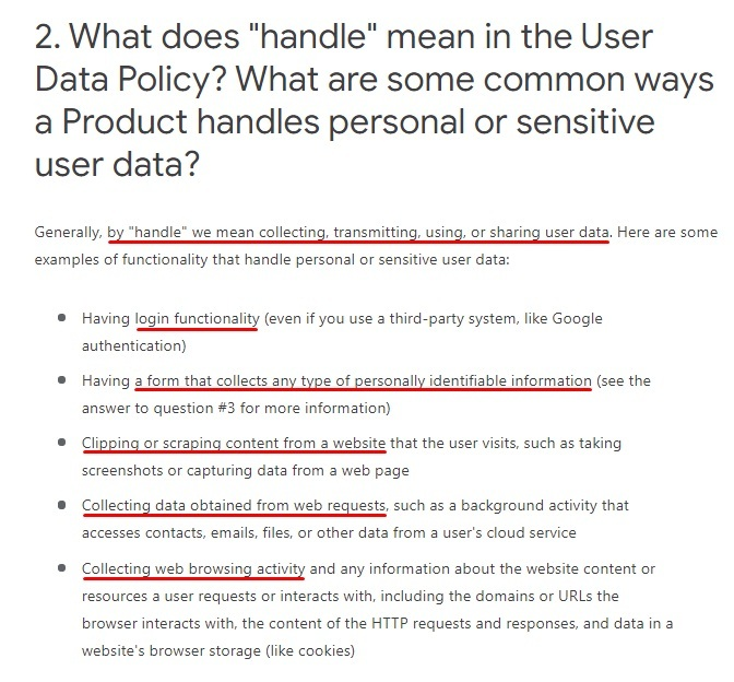 Google Updated Privacy Policy and Secure Handling Requirements: Definition and examples of handling data