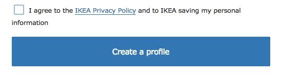 IKEA Kontoeinrichtung: Checkbox Ich bin mit der Datenschutzrichtlinie einverstanden