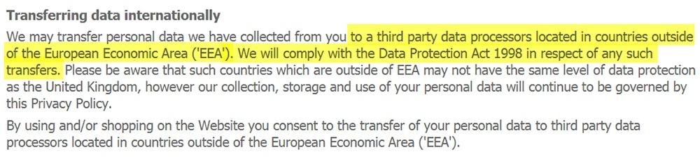 Informativa sulla privacy di Debenhams: clausola Trasferimenti di dati internazionali