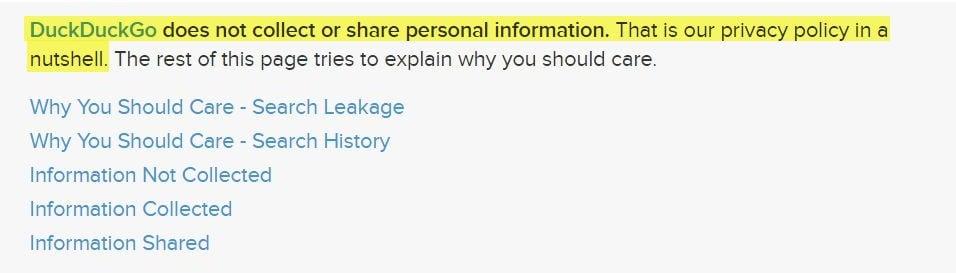 Informativa sulla privacy di DuckDuckGo: clausola introduttiva con elenco di link
