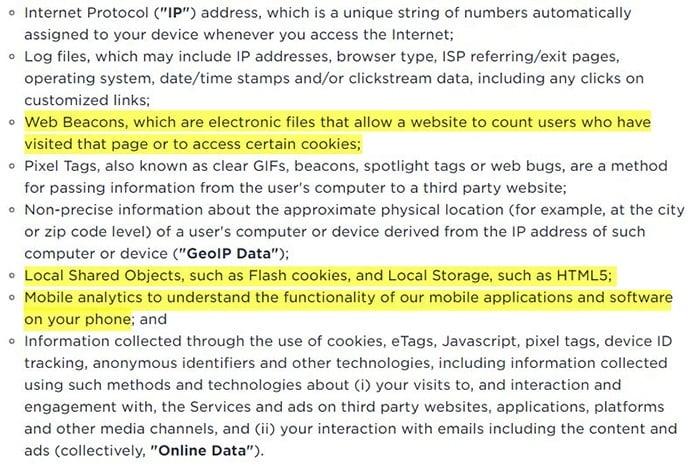 Informativa sulla privacy di Ookla: clausola Come raccogliamo e creiamo dati evidenziata