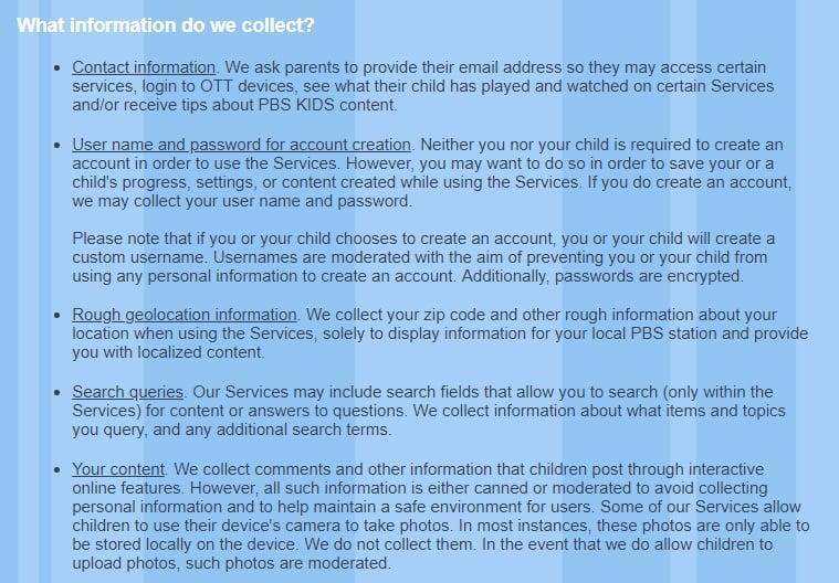 Informativa sulla privacy di PBS Kids: estratto della clausola Dati raccolti