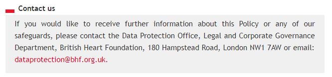 Informativa sulla privacy e Politica sui cookie della British Heart Foundation: clausola Contattaci con dati sul RPD