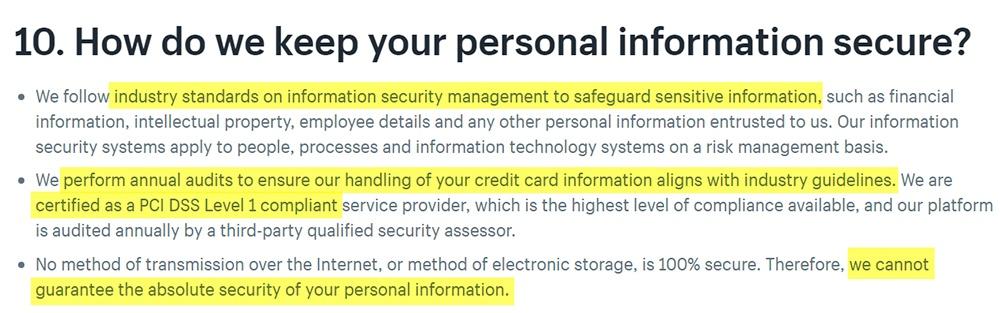 Informativa sulla privacy di Shopify: clausola Come manteniamo al sicuro i tuoi dati personali