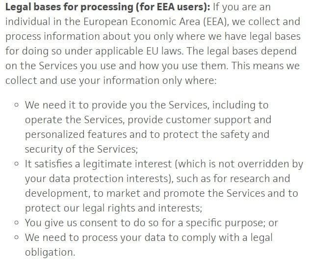 Informativa sulla privacy di Trello: clausola Basi giuridiche del trattamento per utenti del SEE