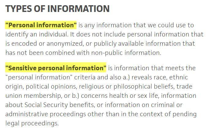 Informativa sulla privacy di Trello: clausola Tipologie di dati: definizione di dati personali e dati sensibili