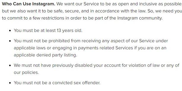 Conditions d'Utilisation Instagram : Qui peut utiliser Instagram - Clause Restrictions