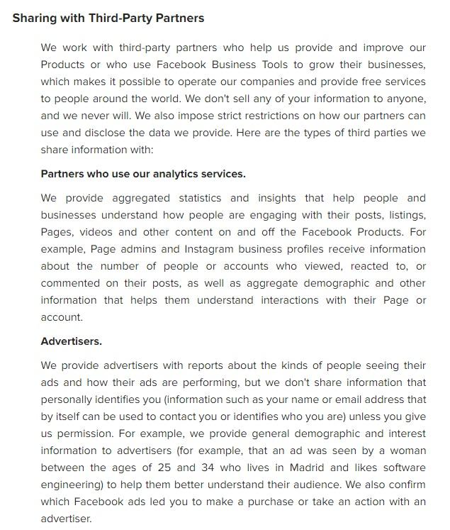 Instagram Datenschutzrichtlinie: Auszug aus Klausel über Weitergabe an Drittanbieter-Partner