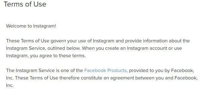 Gebruiksvoorwaarden Instagram: Inleidende clausule