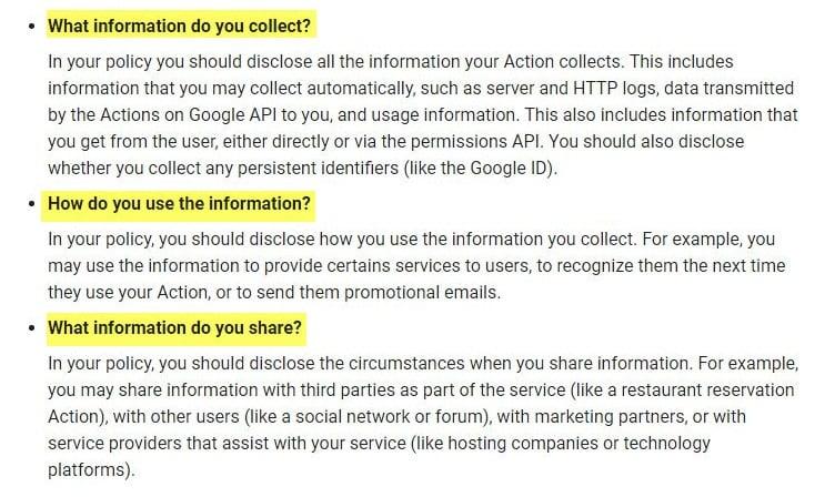 Linee guida sull'Informativa sulla privacy per sviluppatori Google: sezione Modalità di condivisione dei dati raccolti, finalità di utilizzo e conservazione