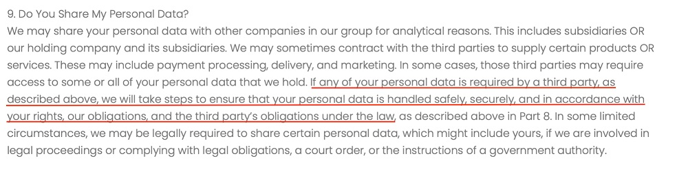 Markd LTD Privacy Policy: Do You Share My Personal Data clause - Security section highlighted