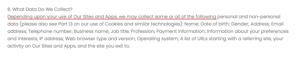 Markd LTD Privacy Policy: What Data Do We Collect clause