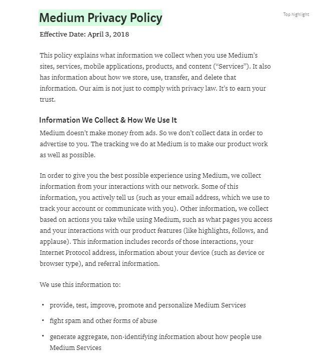 Política de Privacidad de Medium: Cláusula Información que recopilamos y cómo la usamos