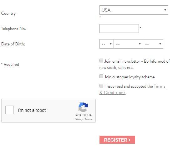 Modulo di Collectif per la registrazione a un account