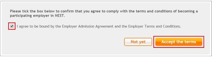 Nest: Casilla de verificación y botón «Aceptar» para aceptar las Condiciones Generales
