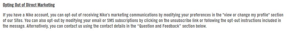 Nike Datenschutzrichtlinie: Klausel über Abmeldung von Direktmarketing